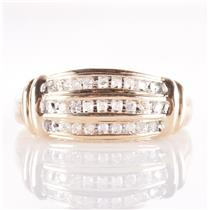 "10k Yellow Gold Round Cut Diamond ""I Love You"" Three-Row Style Ring .25ctw"