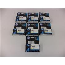 LOT OF 7 - HP CB320WL HP 564 Yellow Original Ink Cartridge - LOT OF 7