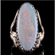 14k Yellow Gold Oval Cabochon Cut Opal Solitaire Cocktail Ring 11.3ct