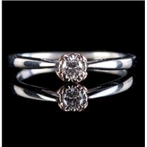 10k White & Rose Gold Round Cut Diamond Solitaire Heart Promise Ring .11ct