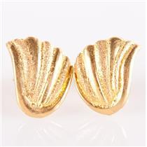 21k Yellow Gold Seashell Style Post Earrings W/ Screw Backs 2.95g