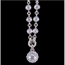 "14k White Gold Festoon Style Round Cut Diamond Necklace .99ctw 16"" Length"