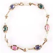 14k Yellow Gold Oval Cabochon Cut Tourmaline & Iolite Knotted Bracelet 6.14ctw