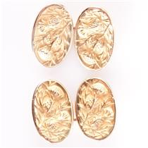 14k Yellow Gold Vintage Inspired Hand Engraved Thistle Cuff Links 9.55g