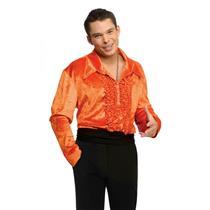 Orange Ruffled Velvet Disco Shirt 70's Small