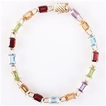10k Yellow Gold Emerald Cut Multi-Stone Tennis Bracelet 10.17ctw