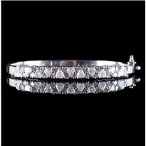 14k White Gold Trillion & Round Cut Diamond Hinged Bangle Bracelet 3.90ctw