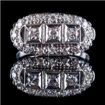Vintage 1930's 14k White Gold Old European Cut Diamond Ring .44ctw