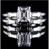 14k White Gold Emerald Cut Diamond Solitaire Engagement / Wedding Ring Set .70ct
