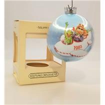 Hallmark Satin Ball Ornament 1983 Muppets - Kermit and Miss Piggy - #QX2147-DB
