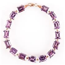 10k Yellow Gold Emerald Cut Amethyst Tennis Bracelet 33.75ctw 9.43g