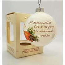Hallmark Ornament 1982 Mother and Dad - White Porcelain Glass Ball - #QX2223-SDB