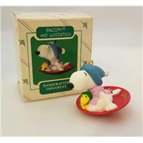 Hallmark Ornament 1986 Snoopy and Woodstock - Peanuts Gang - #QX4383-SDBNT