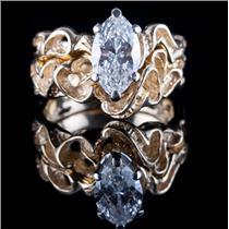 14k Yellow Gold Marquise Cut Diamond Engagement / Wedding Ring Set 1.66ctw