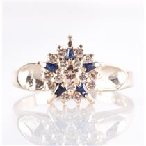 14k Yellow Gold Round Cut Diamond & Baguette Cut Sapphire Cluster Ring .60ctw