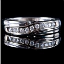 14k White Gold Round Cut Diamond Wedding Anniversary Band / Ring .17ctw