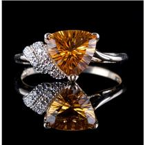 10k Yellow Gold Trillion Cut Citrine Solitaire Ring W/ Diamond Accents 1.99ctw