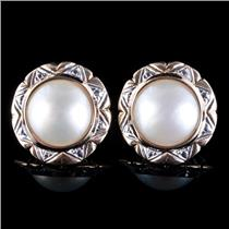 14k Yellow & White Gold Cultured Mabe Pearl Solitaire Stud Earrings 7.49g