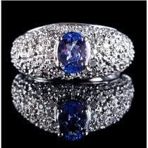 14k White Gold Oval Cut Tanzanite Solitaire Ring W/ Diamond Accents 2.14ctw