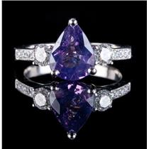 18k White Gold Purple Sapphire Solitaire Engagement Ring W/ Diamonds 2.27ctw