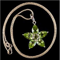 10k Yellow Gold Pear & Round Cut Peridot Floral Pendant W/ Chain 7.15ctw