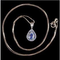 "14k Yellow Gold Pear Cut Tanzanite & Diamond Halo Pendant W/ 18"" Chain .33ctw"