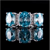 10k White Gold Oval Cut Blue Zircon & Diamond Cocktail Ring 4.45ctw