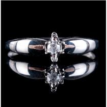 10k White Gold Round Cut Diamond Solitaire Illusion Set Engagement Ring .05ct