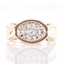 Men's 14k Yellow Gold Round Cut Diamond Cluster Ring .50ctw