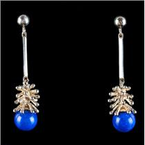 14k Yellow Gold Sphere Cut Lapis Lazuli Solitaire Dangle Earrings 6.58g