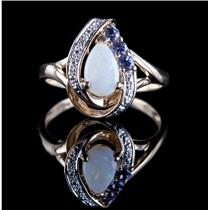 10k Yellow Gold Pear Cabochon Cut Opal / Tanzanite / Diamond Ring .75ctw