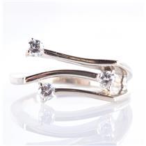 14k White Gold Round Cut Three-Stone Diamond Modern Style Ring .25ctw