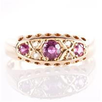 Vintage 1910's 18k Yellow Gold Old Round Cut Ruby & Diamond Ring .67ctw