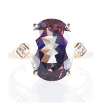 10k Yellow Gold Oval Cut Mystic Topaz Solitaire Ring W/ Diamond Accents 7.78ctw