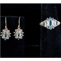10k Yellow Gold Oval Cut Aquamarine & Diamond Ring / Earring Set 2.25ctw