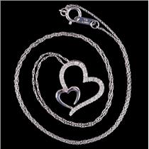 "10k White Gold Round Cut Diamond Heart Pendant W/ 18"" Chain .35ctw"