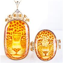 14k Yellow Gold Oval Cut Hand Carved Amber & Citrine Ring / Necklace Set .56ctw