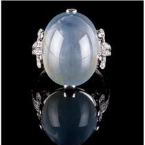 Vintage 1920's Platinum Star Sapphire Solitaire Ring W/ Diamond Accents 29.37ctw