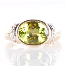 10k Yellow Gold Oval Cut Peridot Solitaire Ring W/ Diamond Accents 3.0ctw