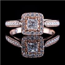 "14k Rose Gold Princess Cut ""Leo""  Diamond Halo Engagement Ring .96ctw"