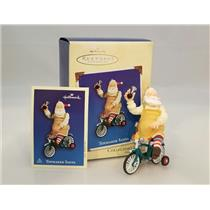 Hallmark Series Ornament 2002 Toymaker Santa #3 - Santa on a Bicycle - #QX8096