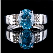 14k White Gold Oval Cut Sky Blue Topaz Solitaire Ring W/ Diamond Accents 2.59ctw
