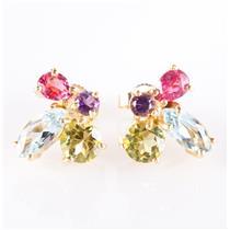 14k Yellow Gold Peridot / Aquamarine / Tourmaline / Amethyst Earrings 2.80ctw