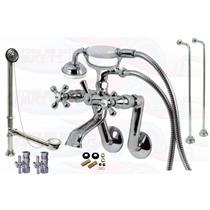 Chrome Tub Mount Clawfoot Bathtub Filler Faucet Kit W/Hand Shower - KBFP - CCK269C