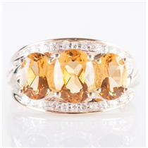 10k Yellow Gold Oval Cut Citrine & Diamond Three-Stone Cocktail Ring 2.97ctw