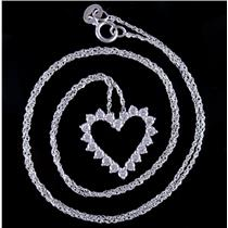 "14k White Gold Round Cut Cubic Zirconia Heart Pendant W/ 18"" Chain .60ctw"
