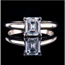 """14k Yellow Gold Emerald Cut """"D"""" Diamond Solitaire Engagement Ring 1.04ct"""
