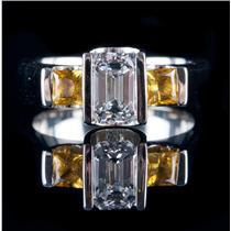 14k White Gold Emerald Cut Diamond & Yellow Sapphire Engagement Ring 1.55ctw