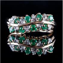 10k Yellow Gold Round Cut Emerald & Single Round Cut Diamond Ring .34ctw