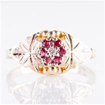 10k Black Hills Gold Tri-Tone Round Cut Diamond & Ruby Cluster Ring .20ctw